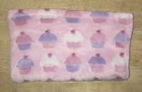 Cutie Pie Cupcake Girls Baby Blanket Pink White Plush Embossed Security Lovey B