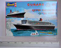 Cunard Line Set Queen Elizabeth 2 & Queen Mary 2 1:1200 Revell 05712 Ocean Liner