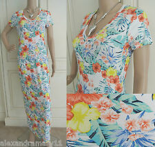 NEW EX M&S COLLECTION WHITE YELLOW BLUE GREEN TROPICAL PRINT MAXI DRESS 6 - 22