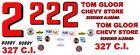 #2 Bobby Allison 1965-66 Chevy Gloor Store 1/43rd Waterslide Slot Car Decals