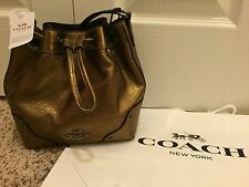 NWT Coach Mickie Metallic Brass Gathered Leather Drawstring Bucket Bag F35363