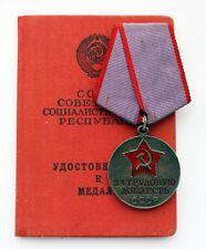 1967 Original Soviet Russian USSR SILVER Medal For Labor Valor + DOC CCCP Mint