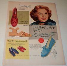 Vintage 1953 Summerettes Shoe Ad Rhonda Fleming
