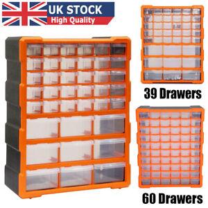 Multi Drawer Cabinet Small Parts Storage Units Garage Tool Box Organizer Bins UK