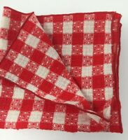 NWOT Vintage #10 Woven Red Checkered Napkins Picnic Christmas Farmhouse Country