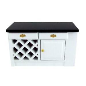 Dolls House Miniature Kitchen Black & White Island Unit End Cabinet
