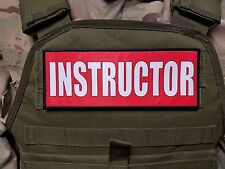 "3x8"" INSTRUCTOR RED HOOK MORALE VEST PATCH POLICE MILITARY CONTRACTOR CHP CCW"