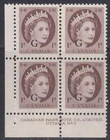 "Canada #O40 1¢ Queen Elizabeth ""G"" Overprint Official LL Plate #8n Block MNH"