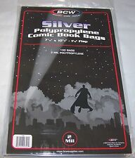 "100 BCW SILVER Comic Book Bags 7 1/8""  x  10 1/2"" FREE & QUICK SHIPPING"
