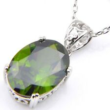 Oval Cut Shiny Natural Olive Peridot Platinum Plated Necklace Pendant With Chain