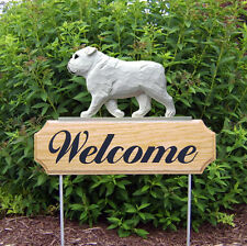English Bulldog Dog Breed Oak Wood Welcome Outdoor Yard Sign White