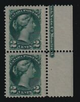 Canada Sc #36ii (1891) 2c deep blue green Small Queen Imprint Pair Mint VF NH