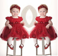 Newborn Infant Baby Girls Clothes Flower Tulle Princess Party Wedding Dress Set