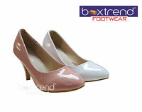 NEW WOMENS LADIES HIGH MID HEEL PLATFORM EVENING PARTY BRIDAL WEDDING COURT SHOE
