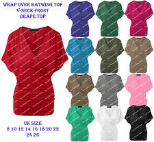New Womens V Neck Wrap over Batwing Top Front Drape Loose fit Plus Size Jumper