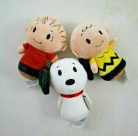 3 Hallmark Itty Bittys Peanuts Character Plush Snoopy Linus Charlie Brown