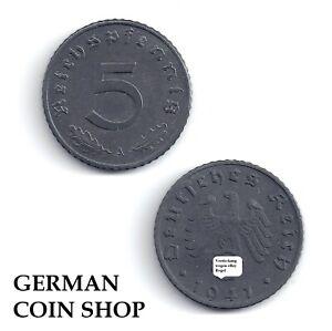 5 Reichspfennig Zink 1940 1941 1942 1943 1944 A B D E F G J - Drittes Reich
