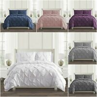 Top Quality Pintuck Duvet Cover Bed Set 100% Egyptian Cotton 200 Thread Count