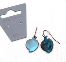 PILGRIM Drop Earrings Vintage PATINA HEART LEAF Fired Enamel Copper Blue BNWT