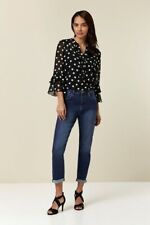 Wallis Womens Blue Denim Roll Up Jeans Relaxed Fit Trousers Pants