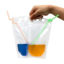 500ml Portable Ziplock Zipper Stand Up Pouch Drinks Bag with STRAW Booze Drink