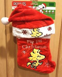 "Peanuts 12"" My 1st Christmas Baby Red/White Embroidered Woodstock Stocking/Hat"