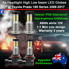 4x 360° Headlight Globes High Low Beam For Toyota Prado 150 Series 2009-2017 12V
