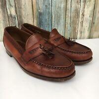 Allen Edmonds Maxfield Men's 14 Brown Braided Leather Tassel Loafer Shoes