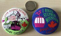 Lot of 2 Banff Canada Sulphur Mountain Gondola Pinbacks Buttons #34560