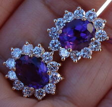2.4cts Diamonds G/SI1-SI2 4cts Amethyst earrings 14k WG Halo