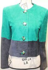 Vintage Danier Green Black Women Blazer Coat Metal Buttons XS Made In Canada
