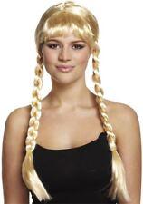 Adulte Blonde Long Tresse Bavarois beauté Perruque New Fancy Dress Pigtail Oktoberfest