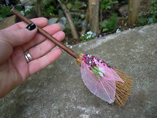 Mini broom Besom Spell supplies Altar Pagan Wicca Witchcraft pink leaf
