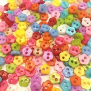 25, 50, 100 Tiny Baby Mini 6mm Flower Shaped Buttons, Mixed Colour, Doll Craft