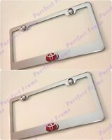 2X 3D SIENNA TOYOTA Emblem Stainless Steel License Plate Frame Rust Free