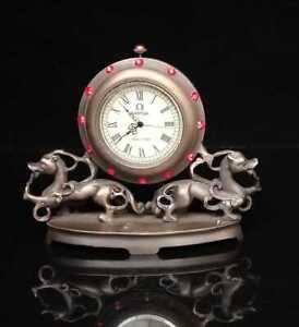 Collectible Handmade Statu beast Mechanical Clock Exquisite brass