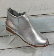 Zara Girls Silver Zip Ankle Boots Shoe Size Us 4 Eur 36 New