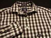 Faconnable Womens XS Extra Small Long Sleeve Button-Down Brown Plaid Check Shirt