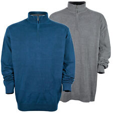 Kitaro Pullover Pulli Feinstrick Troyer Herren Baumwolle Grau Blau Plusgröße