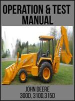 John Deere 300D 310D 315D Backhoe Operation & Test Technical Manual TM1496 USB