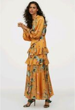 JOHANNA ORTIZ x H&M yellow floral  patterned long dress with scarf collar UK10 S