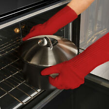 2 Pack Super Oven Glove Extra Thick Extra Long Heat Resistant Oven Mitt Red