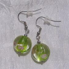 """Boucles d'oreilles crochets perle verre acier inoxydable non allergique """"Rosée"""""""