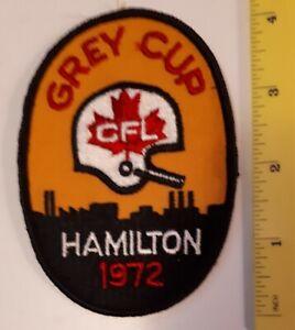 "*/RARE VINTAGE CANADIAN ""1972 GREY CUP CFL HAMILTON"" SMALL CLOTH PATCH - COLOUR"