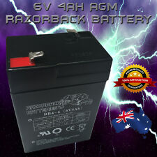 Brand New 6V 4.0AH Razorback AGM Rechargeable battery 6volt 4ah Toy Electric**