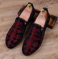 Mens Rhinestones Suede Pointy Punk Slip On Loafer Casual Dress Moccasins Shoes F