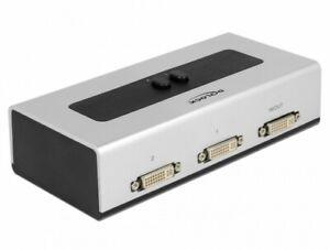 2 port DVI-D Umschalter manuell bidirektional 1x Buchse > 2x Buchse schwarz grau