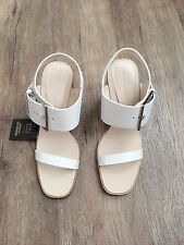 ZARA Women's Leather High Heel Sandal with Buckle(White, US  8/EUR  39)