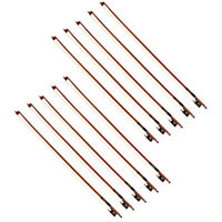 10 Set Violin Bow 4/4 Size Brazilwood Octagonal Stick Ebony Frog Horse Hair