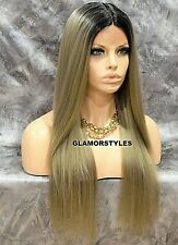 Human Hair Blend Hand Tied Monofilament Lace Front Wig Ombre Off Black Dark Ash